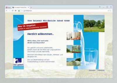Screenshot der Startseite des Internetauftritts von Gut Lerbach